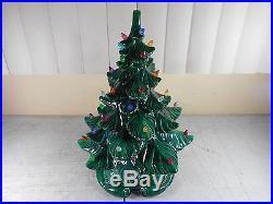 Vintage Atlantic Mold Ceramic Lighted Christmas Tree HUGE 17 Tall WORKS GREAT