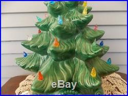 Vintage Atlantic Mold Ceramic Lighted Green Glazed Christmas Tree 17 Tall