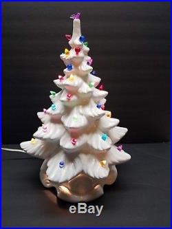 Vintage Atlantic Mold Ceramic White Christmas 18 Tree 13 Stand Lighted Lights