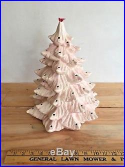 Vintage Atlantic Mold Company Ceramic Christmas tree RARE PINK CREAM WHITE MCM