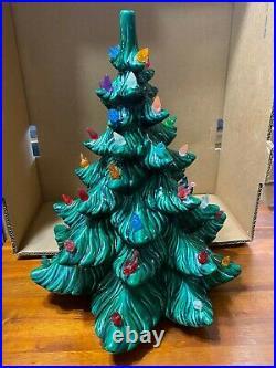Vintage Atlantic Mold Green Ceramic Christmas Tree Multi Colored 14.5 1970`s