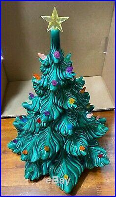 Vintage Atlantic Mold Green Ceramic Christmas Tree Multi Colored 15 1970`s