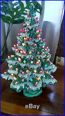 Vintage Atlantic Mold Green Lighted Ceramic Christmas Tree