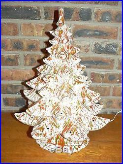 Vintage Atlantic Mold Large Ceramic Christmas TreeWhite, Green, & Orange Glaze