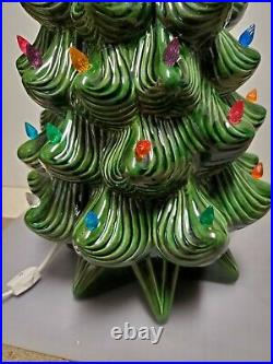 Vintage Atlantic Mold Lighted Ceramic Christmas Tree 24 Tall Excellent