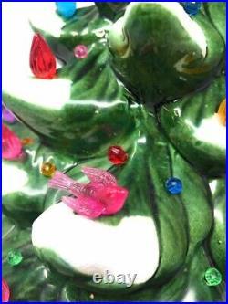 Vintage Atlantic Mold Lighted Flocked Ceramic Christmas Tree Red Star 21.5
