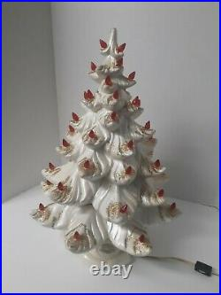 Vintage Atlantic Mold White Ceramic Christmas Tree With Red Lights Gold Glitter