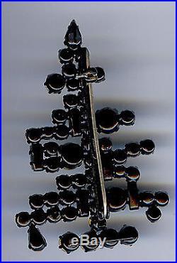 Vintage Austrian Dimensional Brilliant Rhinestone Six Candle Christmas Tree Pin