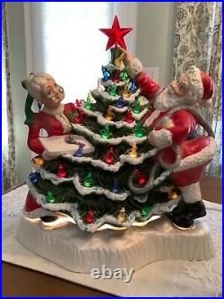 Vintage BLACKBIRD MOLD Santa & Mrs Claus Decorating Ceramic Christmas Tree Rare