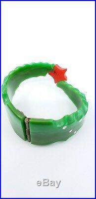 Vintage Bakelite Carved Bracelet Christmas Tree Artisan OOAK Hinged Clamp Signed