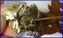 Vintage Beatrix Rhinestone 2 Reindeers Bow Holly Christmas Tree Pin Brooch RARE