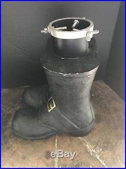 Vintage Black Santa Boots Christmas Tree Stand 15 H X 12 L X 10 W Very Rare