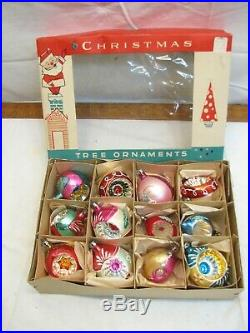 Vintage Blown Fantasia Brand Glass Christmas Tree Indent Ornaments with box Poland