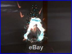 Vintage Blue White nativity ceramic Christmas tree Front Diorama Jesus Mary