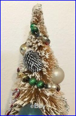 Vintage Bottle Brush Tree 13 Christmas Glass Ornaments Flocked Japan Buy It Now