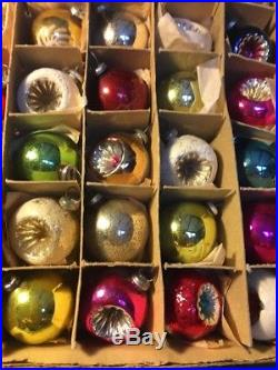 Vintage Box Of 36 Miniature Feather Tree Indent Mercury Glass Christmas Ornament