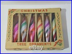 Vintage Box Of (6) Mercury Glass Christmas Tree Teardrop Ornaments Polish Poland