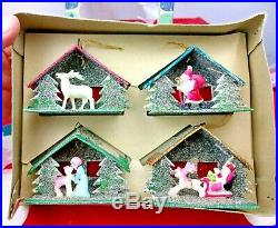 Vintage Box of 4 Christmas Tree Ornaments Shiny-Brite Product Japan withBox