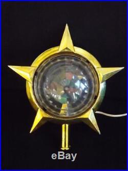 Vintage Bradford Celestial Christmas Tree Star Topper Rotating Color Wheel