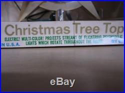 Vintage Bradford Celestial Light Multi Color Christmas Tree Topper IOB 1964