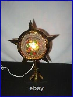 Vintage Bradford Celestial Star Christmas Tree Topper Rotating Gold (Z946)