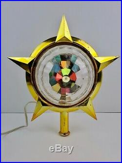 Vintage Bradford Celestial Star Christmas tree topper Spinning Color Disco Works