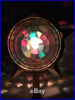 Vintage Bradford Celestial Star Light Spinner Christmas Tree Topper With Box