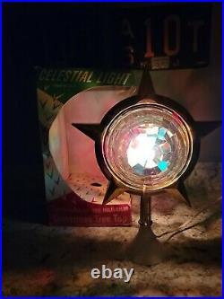 Vintage Bradford Celestial Star Rotating Light Tree Topper Atomic Christmas