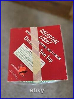 Vintage Bradford Celestial Star Rotating Light Tree Topper Christmas With Box