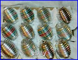 Vintage Bradford Christmas Ornaments Atomic Stripes Plastic MCM ALUMINUM Tree