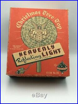 Vintage Bradford Heavenly Reflecting Light Christmas Tree Top Topper Angel & Box