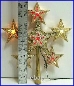Vintage Bradford Star Beautiful Christmas Tree Topper Gold withMulti Color Stars
