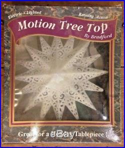 Vintage Bradford Tree Top Rotating Motion Star Lighted Topper Christmas w box