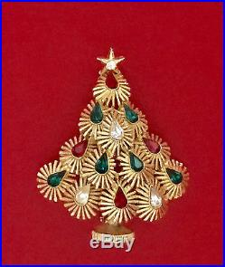 Vintage Brooch Pin EISENBERG Christmas Tree Rhinestone Gold tone not signed