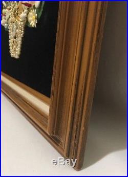 Vintage Brooch Pin Jewelry Pearl Framed Art Christmas Tree with Lights Black Felt
