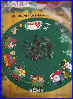 Vintage Bucilla 43 Christmas Express Train Santa Felt Tree Skirt Kit 83137