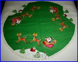 Vintage Bucilla Handmade Christmas Felt Tree Skirt Santa's Sleigh Completed