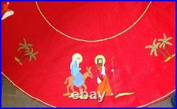 Vintage Bucilla Handmade Christmas Tree Skirt Felt Nativity