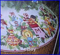 Vintage Bucilla Merry Christmas Jeweled Felt Tree Skirt & Ornament Kit