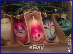 Vintage CHRISTMAS Tree String of 18 Figural Glass Bulbs Lamps C6 Lig rare! (A)