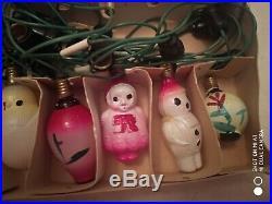 Vintage CHRISTMAS Tree String of 18 Figural Glass Bulbs Lamps C6 Lig rare! (B)