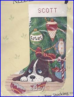 Vintage Candamar Puppy Under Tree Christmas Dog Needlepoint Stocking Kit 30454