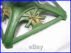 Vintage Cast Iron Christmas Feather Tree Stand Holiday Aluminum Mini Flag Star A