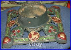 Vintage Cast Iron Christmas Tree Holder Base Piece Stand Reindeer Mistletoe