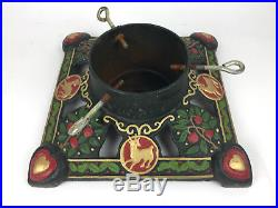 Vintage Cast Iron Christmas Tree STAND Green and Red Large Ornate 13 X 13