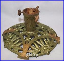 Vintage Cast Iron Christmas Tree Stand Germany Pinecones Candles Stars
