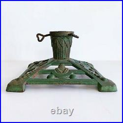 Vintage Cast Iron Christmas Tree Stand Green Gold Pine Cone Dot Art Deco Feather