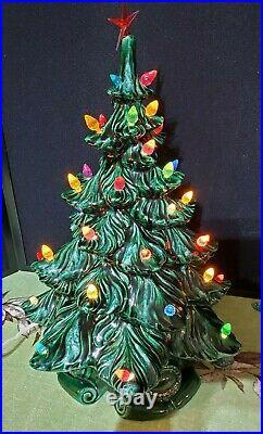 Vintage Ceramic 16 Christmas Tree Lighted