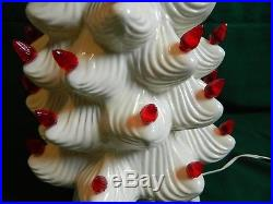 Vintage Ceramic Atlantic Mold Lighted Christmas Tree White with Red Lights 23