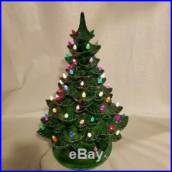 Vintage Ceramic Christmas Holiday Tree 19 Tall by Arnel With Light 2 Pieces